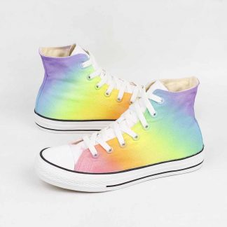 pastel rainbow slip on sneakers