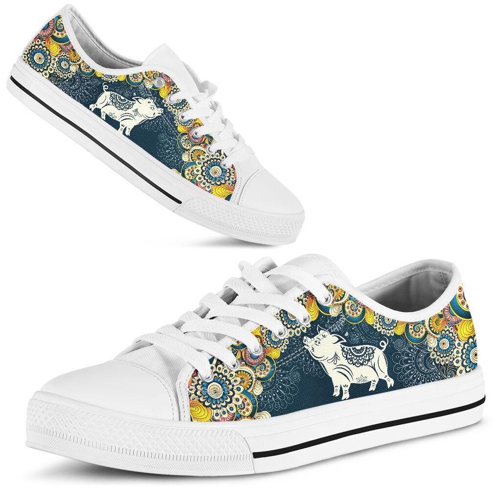 Pig mandala flower_sky_thao Shoes